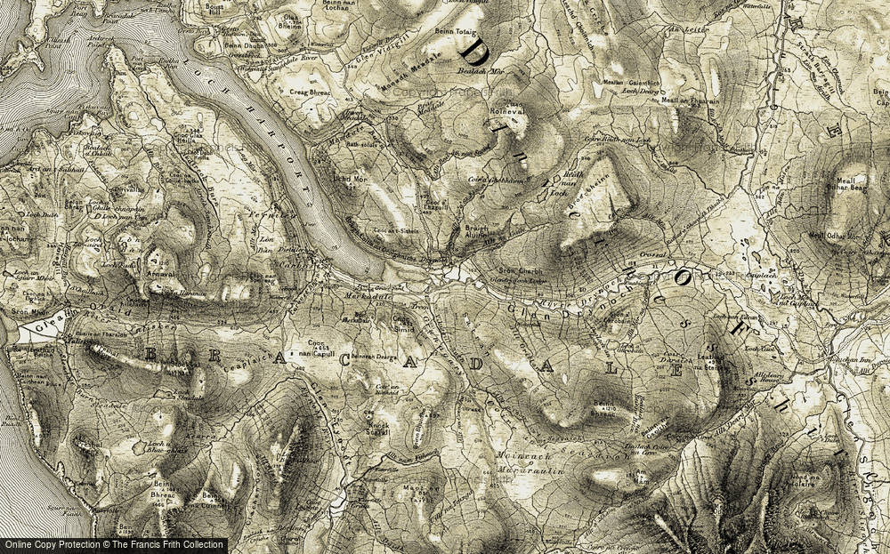 Old Map of Historic Map covering Allt na Guile in 1908-1909