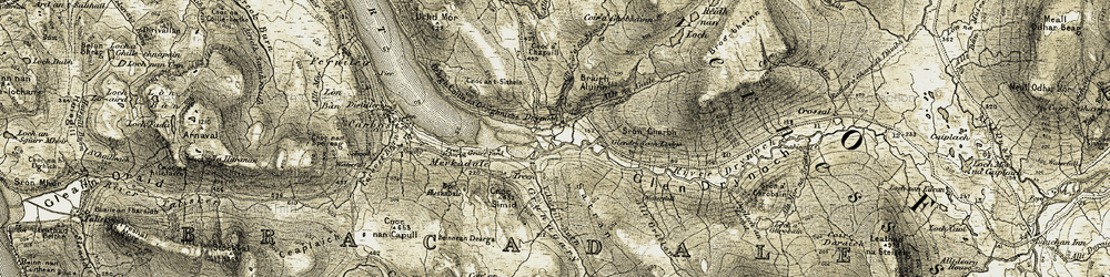 Old map of Allt na Guile in 1908-1909