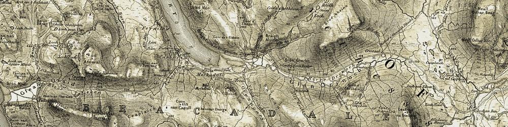 Old map of Allt Beul-àth nan Sachd in 1908-1909