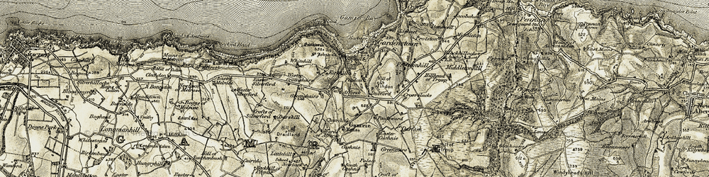 Old map of Wester Greenskares in 1909-1910