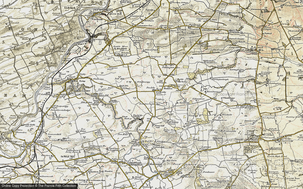 Old Map of Historic Map covering Tindal Ho in 1901-1903
