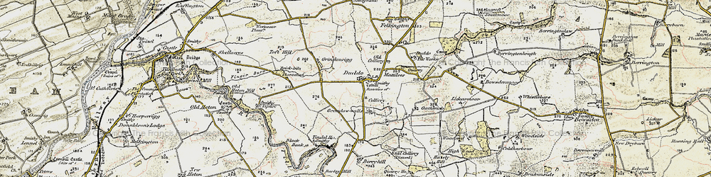 Old map of Duddo in 1901-1903