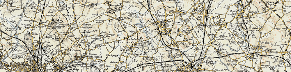 Old map of Wyrley and Essington Canal in 1902