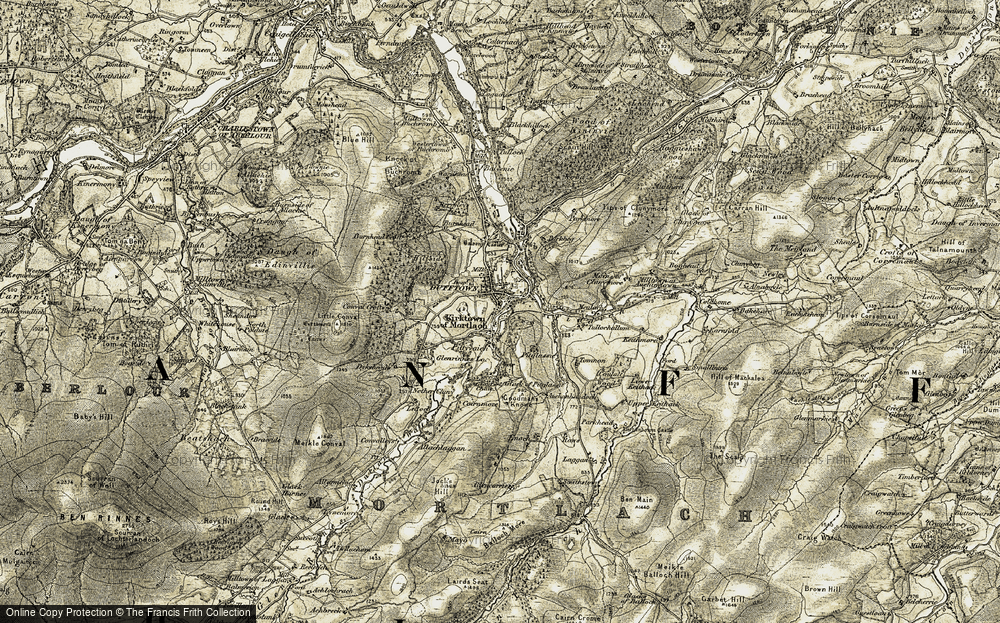 Old Map of Historic Map covering Allachlaggan in 1908-1910