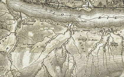 Old map of Duisky in 1906-1908