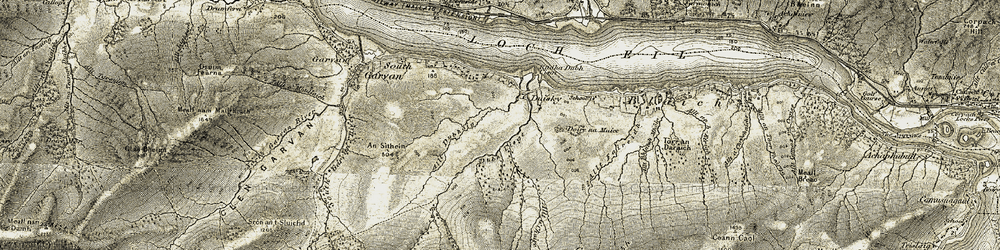 Old map of Allt Dubhaig in 1906-1908