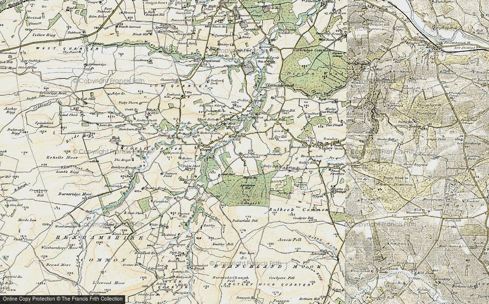 Old Map of Historic Map covering Acton Fell in 1901-1904