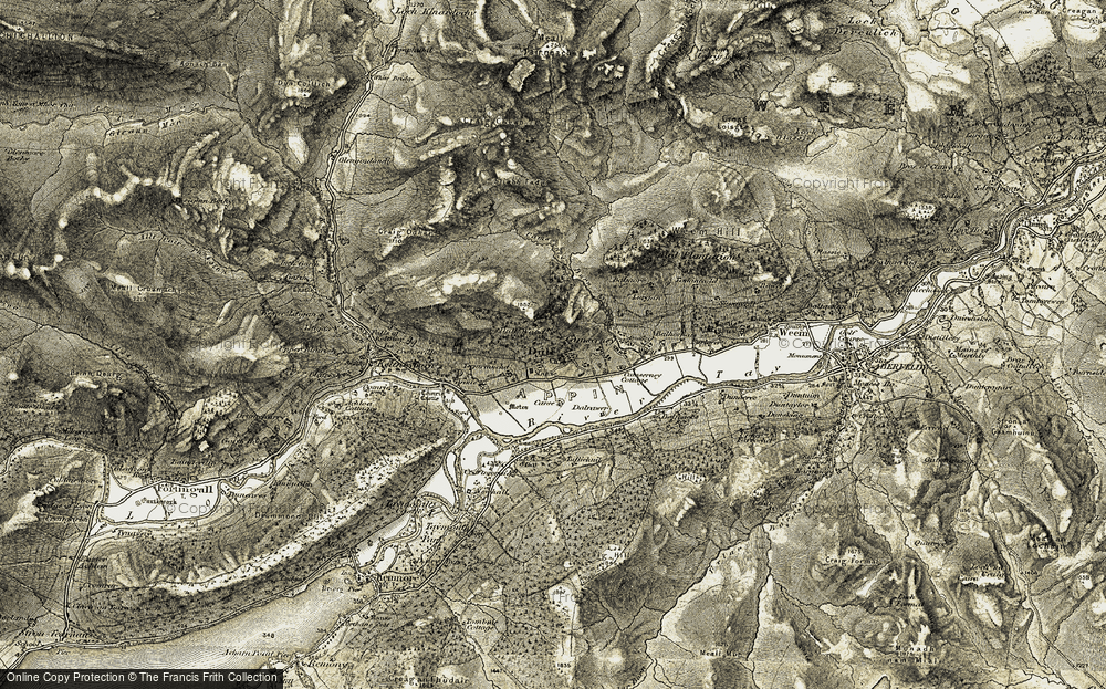 Old Map of Historic Map covering Tirinie in 1906-1908