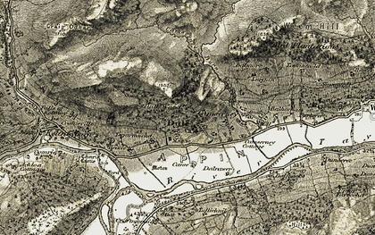 Old map of Dull in 1906-1908