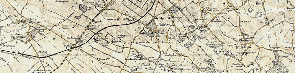 Old map of Westley Bottom in 1899-1901