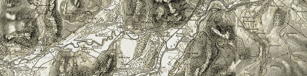Old map of Wester Laggan in 1908-1911