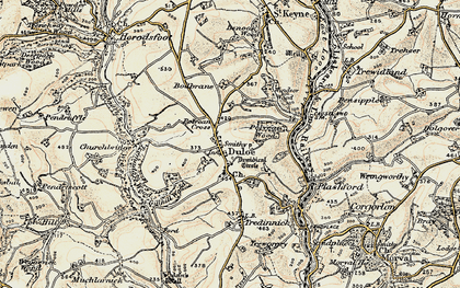Old map of Duloe in 1900