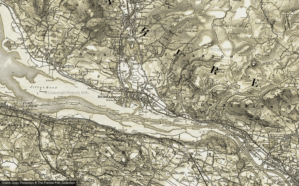 Old Map of Dumbarton, 1905-1907 in 1905-1907