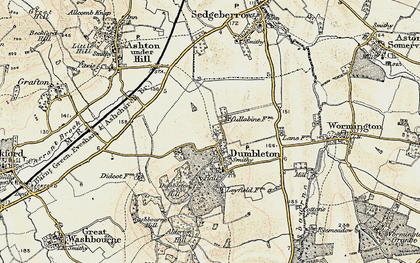 Old map of Dumbleton in 1899-1901