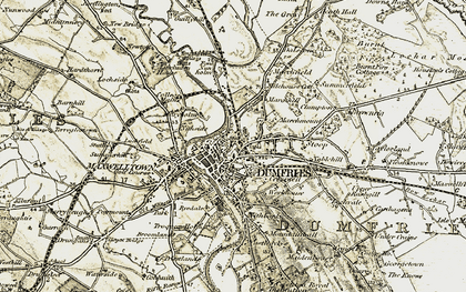 Old map of Dumfries in 1901-1905