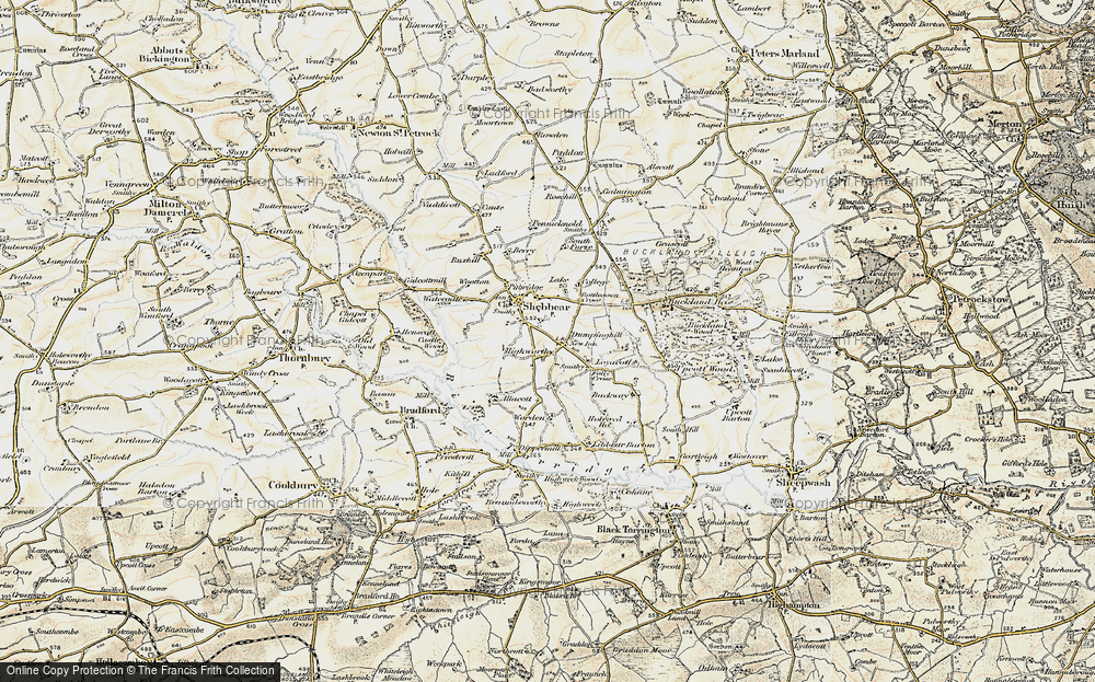 Old Map of Historic Map covering Aish in 1900