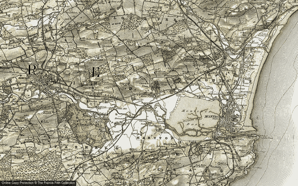 Old Map of Historic Map covering Leys of Dun in 1907-1908