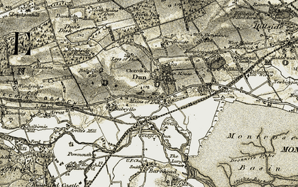 Old map of Leys of Dun in 1907-1908