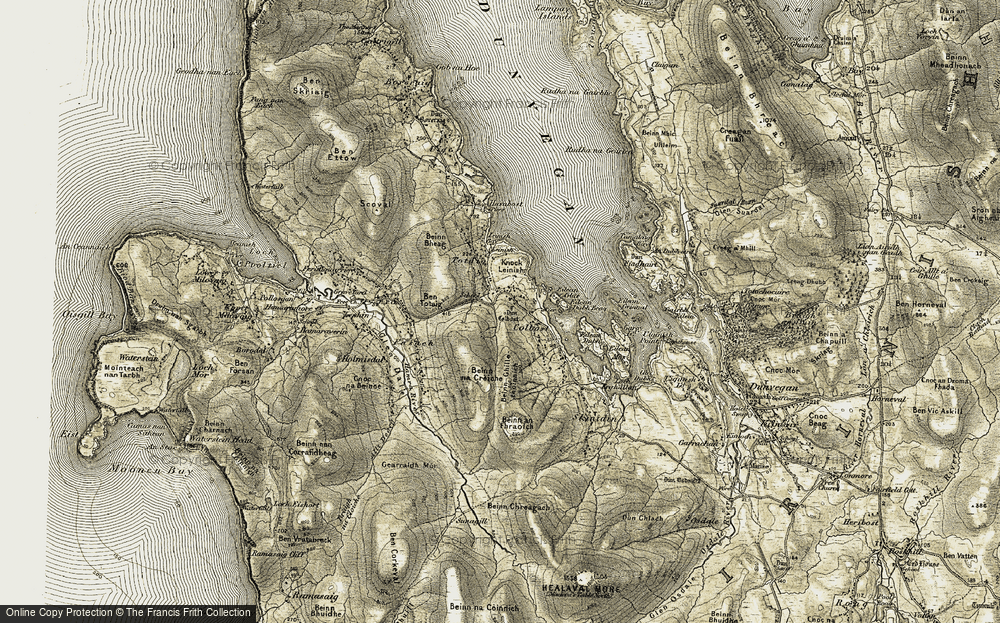 Old Map of Historic Map covering Leinish Bay in 1909-1911