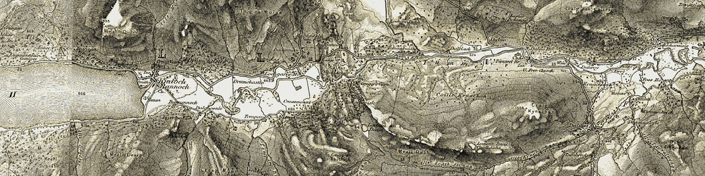 Old map of Allt Leathan in 1906-1908