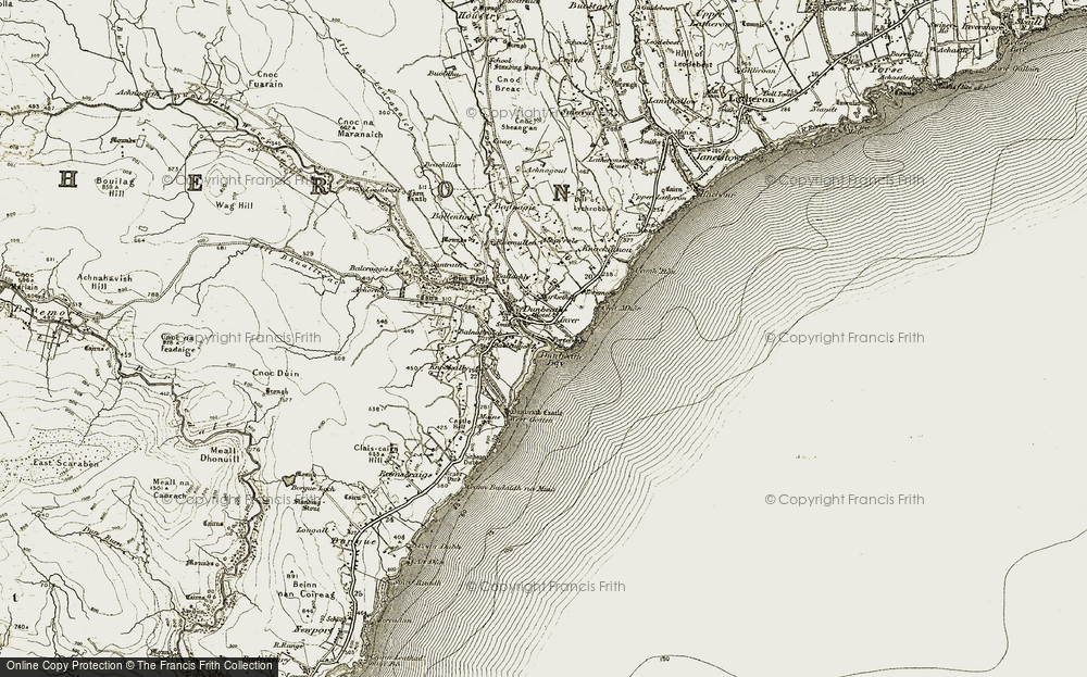 Old Map of Dunbeath, 1911-1912 in 1911-1912