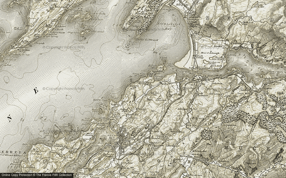 Old Map of Historic Map covering Tom Ard in 1906-1907