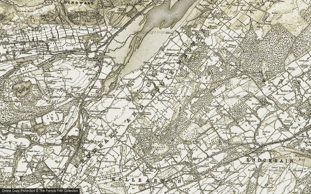 Old Map of Historic Map covering Balnabeen in 1911-1912
