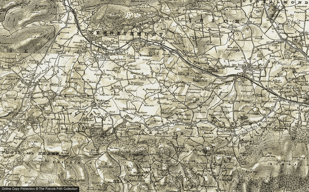 Old Map of Historic Map covering Whiteburn in 1908-1910