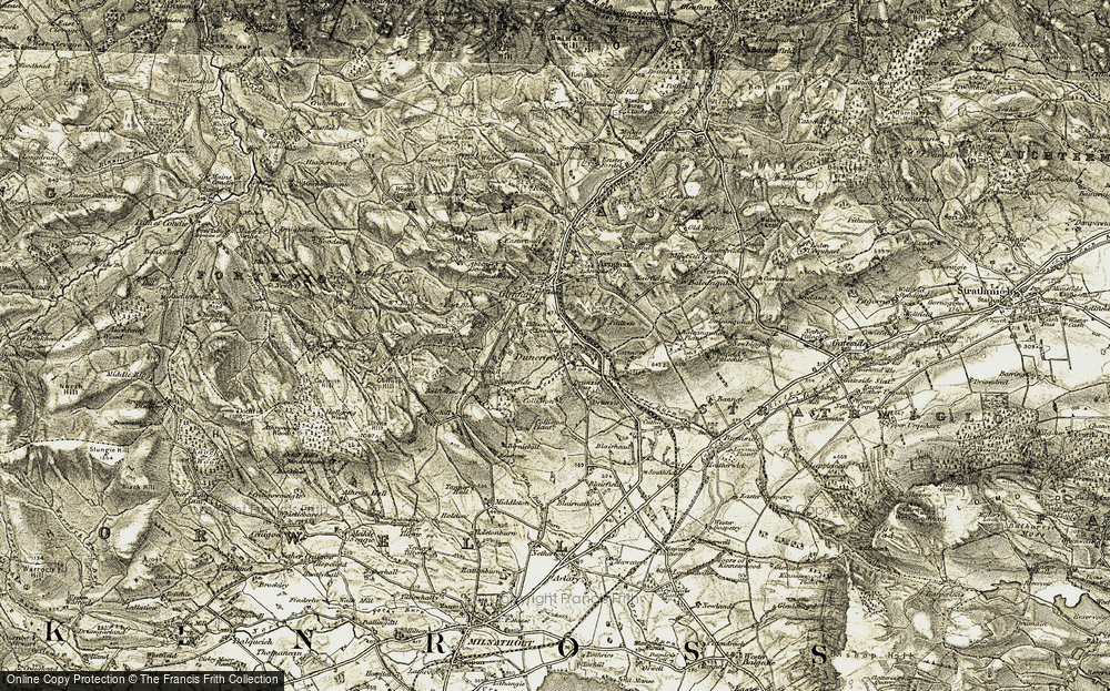 Old Map of Historic Map covering Langside in 1906-1908