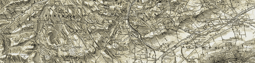 Old map of Tillyrie Hill in 1906-1908
