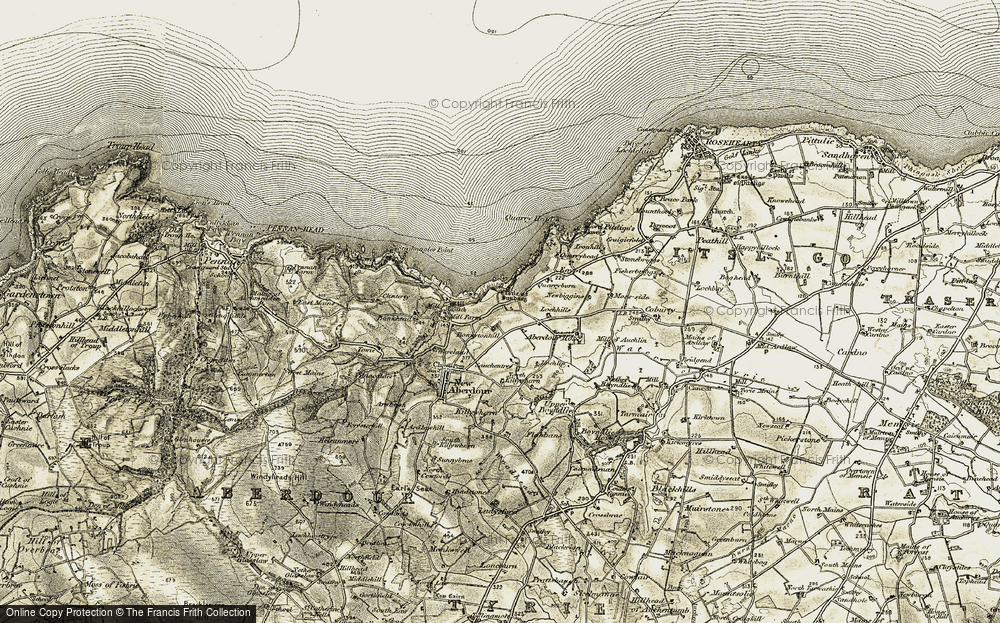 Old Map of Historic Map covering Aberdour House in 1909-1910