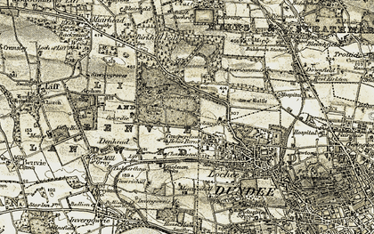 Old map of Dundee in 1907-1908