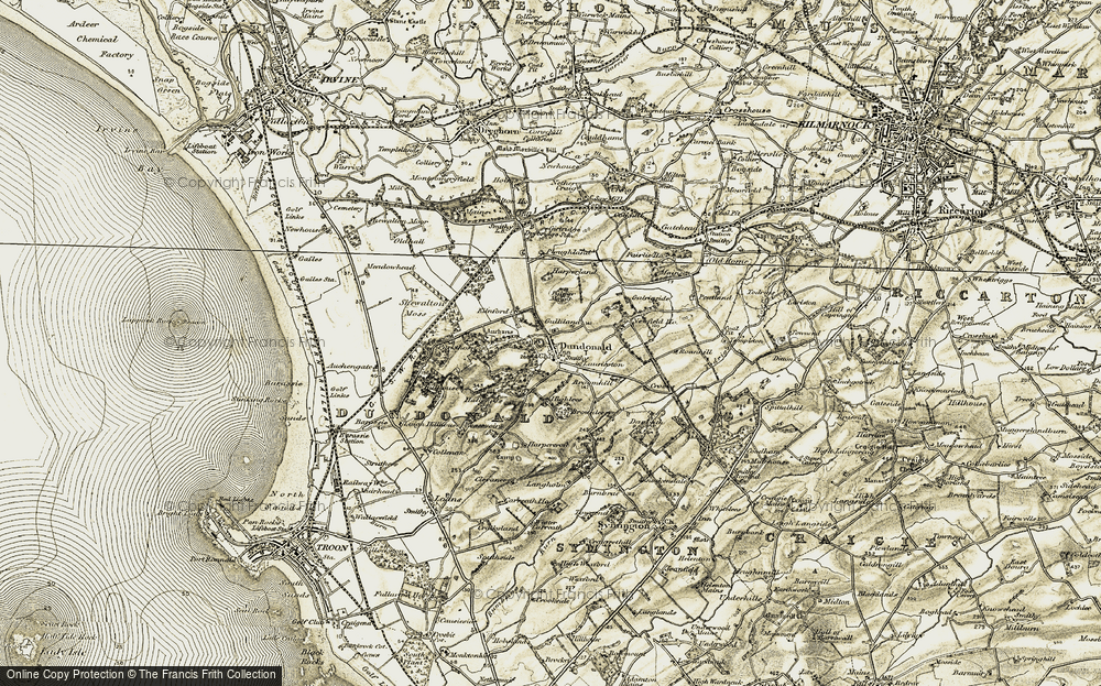 Old Map of Historic Map covering Auchans in 1905-1906