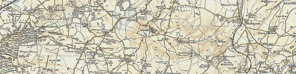 Old map of Dundry in 1899