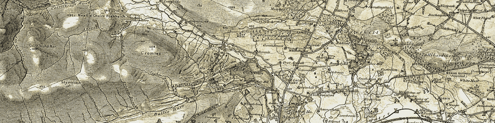 Old map of Tochie Burn in 1906-1907