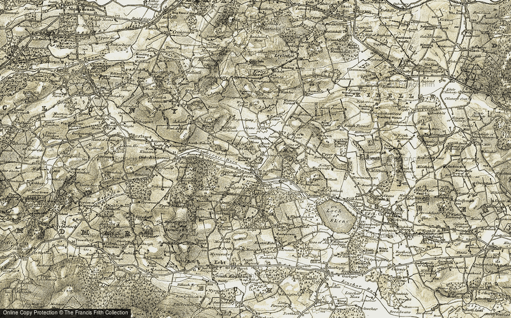 Old Map of Historic Map covering Tillyfoddie in 1909
