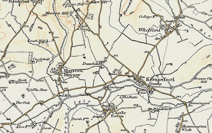 Old map of Dunfield in 1898-1899
