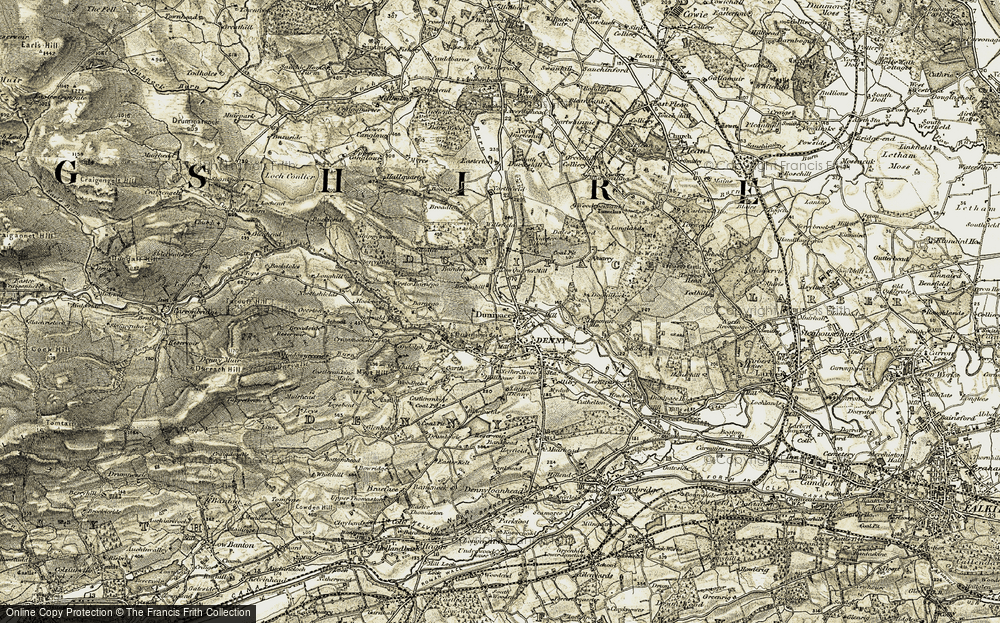 Old Map of Historic Map covering Woodcockfauld in 1904-1907
