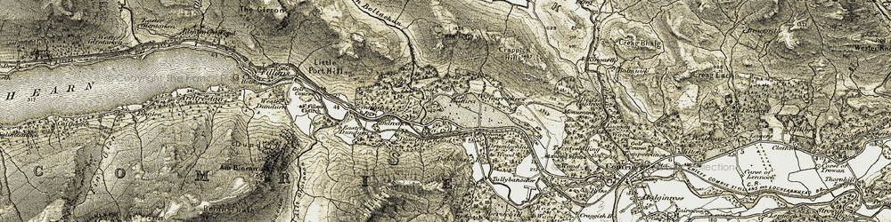 Old map of Whitehouse of Dunira in 1906-1907