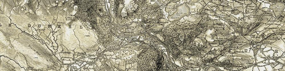 Old map of Dunkeld in 1907-1908