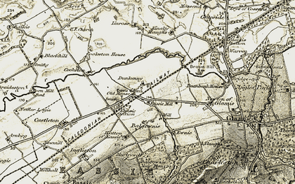 Old map of Linross in 1907-1908