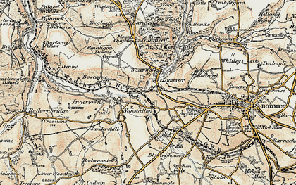 Old map of Dunmere in 1900