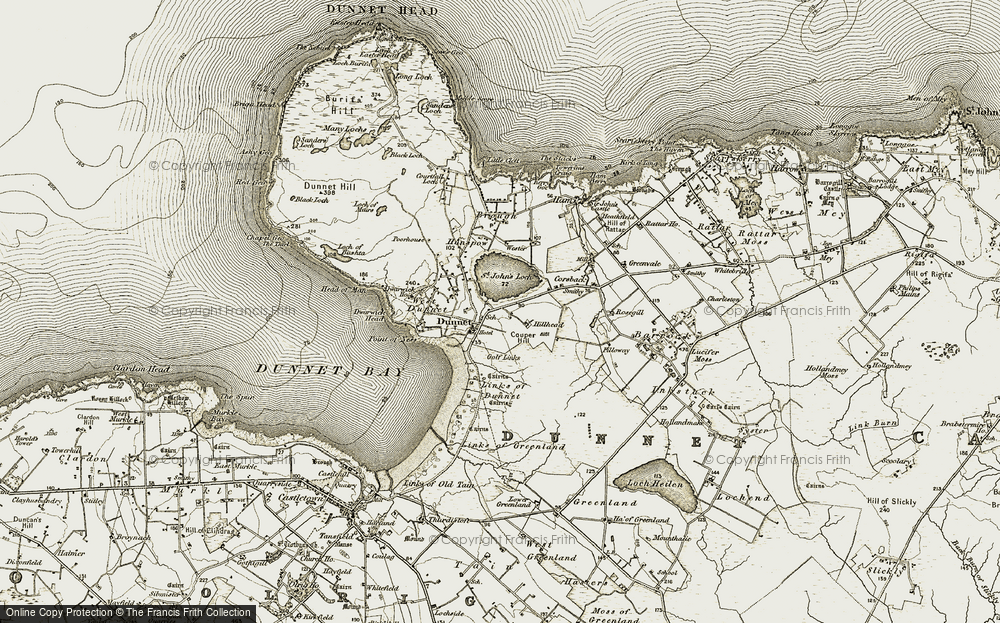 Old Map of Historic Map covering Links of Dunnet in 1912