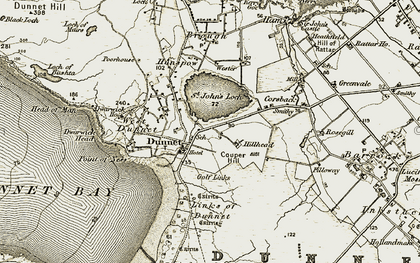Old map of Dunnet in 1912