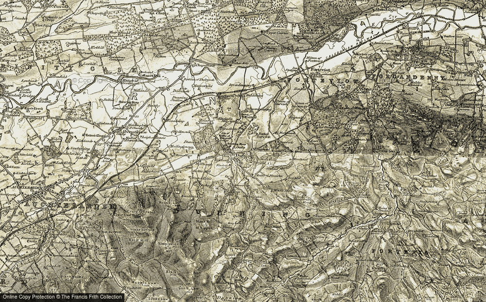 Old Map of Historic Map covering Woodhead in 1906-1908