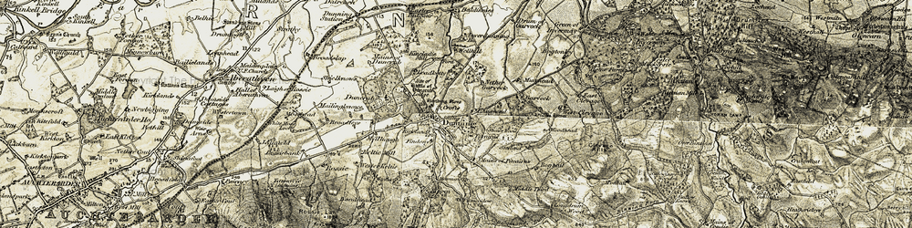 Old map of Wester Balgour in 1906-1908