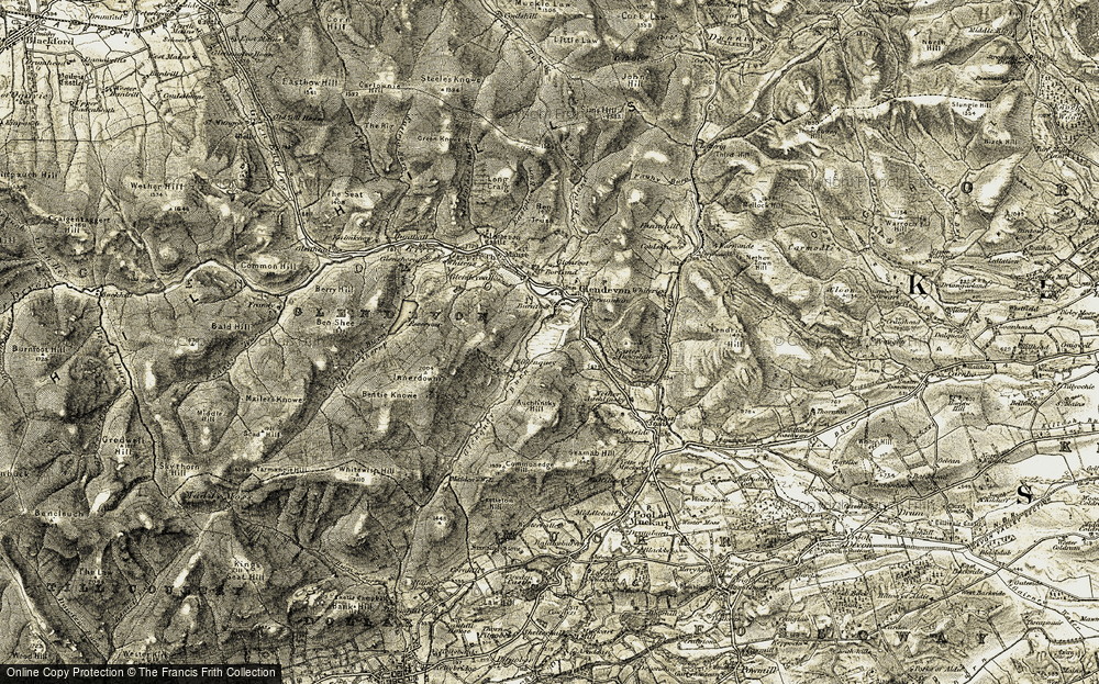 Old Map of Historic Map covering Auchlinsky Hill in 1904-1908