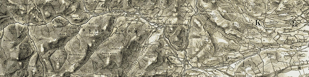 Old map of Wester Glensherup in 1904-1908