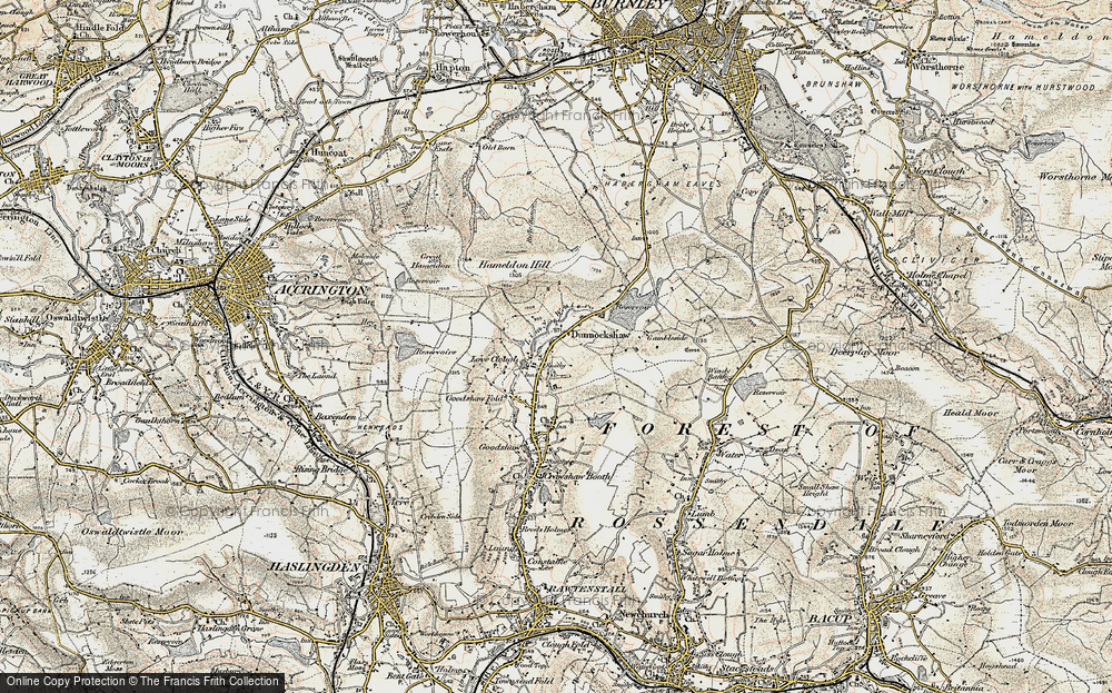 Old Map of Historic Map covering Limy Water in 1903