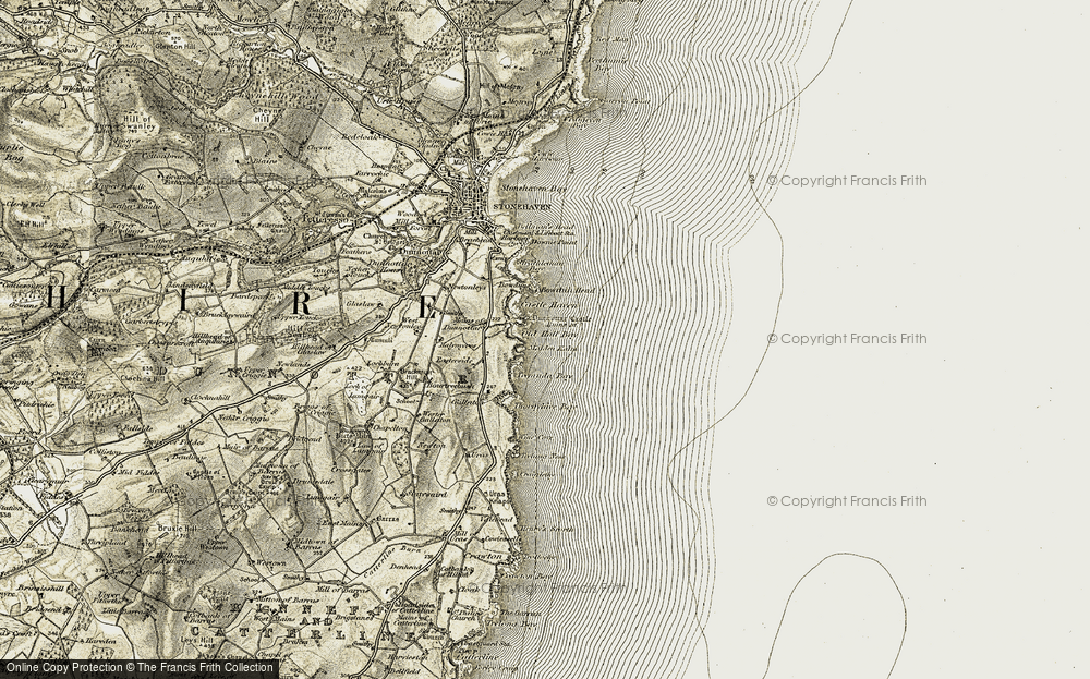 Old Map of Historic Map covering Hope Cove in 1908-1909
